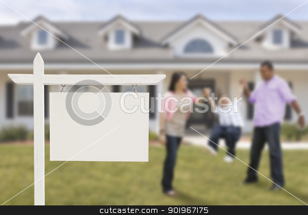 Blank Real Estate Sign and Hispanic Family in Front of House stock photo, Blank Real Estate Sign and Playful Hispanic Family in Front of House. by Andy Dean