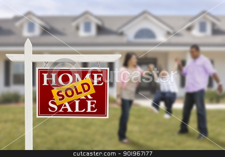 Sold Real Estate Sign and Hispanic Family in Front of House stock photo, Sold Real Estate Sign and Playful Hispanic Family in Front of House. by Andy Dean