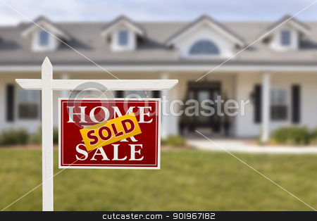 Sold Home For Sale Sign in Front of New House  stock photo, Sold Home For Sale Sign in Front of Beautiful New House. by Andy Dean