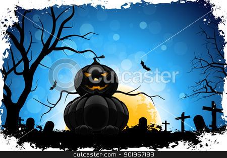 Grungy Halloween Background stock vector clipart, Grungy Halloween Background with Pumpkin, Tree, Grave, Cross and Full Moon by Vadym Nechyporenko