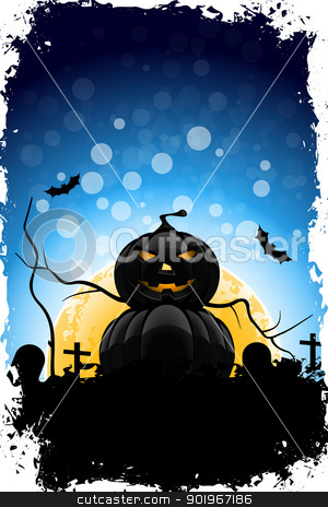 Grungy Halloween Background stock vector clipart, Grungy Halloween Background with Pumpkin, Grave, Cross and Full Moon by Vadym Nechyporenko