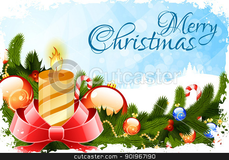 Grungy Christmas Card stock vector clipart, Grungy Christmas Card with Candle Fir Trees and Decoration by Vadym Nechyporenko