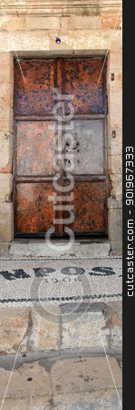 Lindos Door Rhodes Greece stock photo, Iconic mansion door in the village of Lindos in Rhodes Greece by Ollie Taylor