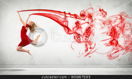 Modern style dancer posing stock photo, Portrait of a dancing young woman with red smoke curles by Sergey Nivens