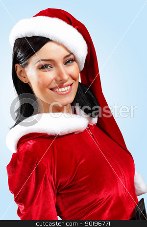 pretty santa girl stock photo, Santa Girl presenting your product, in costume and white gloves by Sergey Nivens