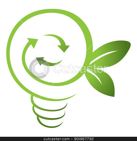 Green energy stock vector clipart, Recycling symbol inside green light bulb by Oxygen64