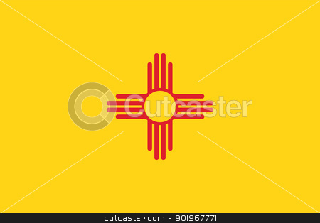 New Mexico flag stock vector clipart, Vector State of New Mexico flag by Oxygen64
