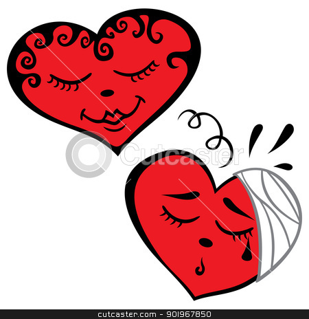 Two hearts stock vector clipart, Illustration of happy and sad hearts by Oxygen64