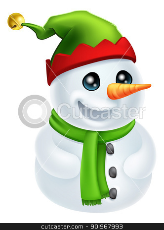 Christmas Snowman in Elf Hat stock vector clipart, Illustration of a happy Christmas Snowman in an Elf Hat by Christos Georghiou
