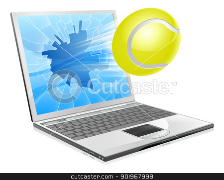Tennis laptop concept stock vector clipart, Illustration of a tennis ball flying out of a broken laptop computer screen by Christos Georghiou