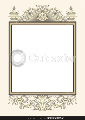 vintage photo frame stock vector clipart, vintage photo frame ornamental vector in seventeenth-century French  style by paulrommer