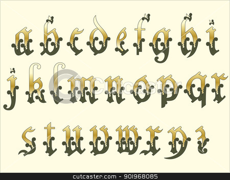 Medieval alphabet stock vector clipart, Medieval Alphabet  by paulrommer