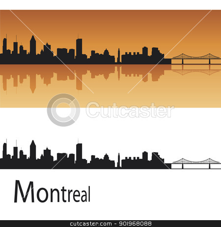 Montreal skyline in orange background stock vector clipart, Montreal skyline in orange background in editable vector file by paulrommer