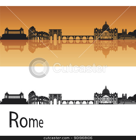 Rome skyline in orange background stock vector clipart, Rome skyline in orange background in editable vector file by paulrommer