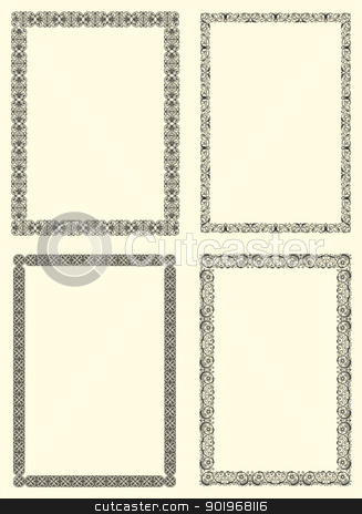 Set of four photo frames stock photo, Set of four photo frames ornamental  in seventeenth-century French  style by paulrommer