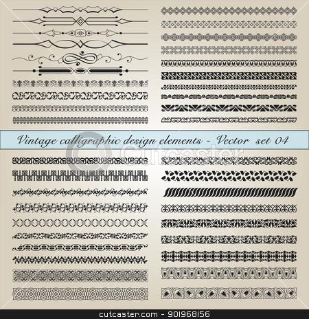 Vintage calligraphic design elements - Vector  set stock vector clipart, Set of vintage calligraphic design elements in editable vector file by paulrommer