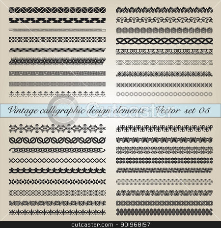 Vintage calligraphic design elements - Vector  set stock vector clipart, Set of vintage calligraphic design elements in editable vector file by paulrommer