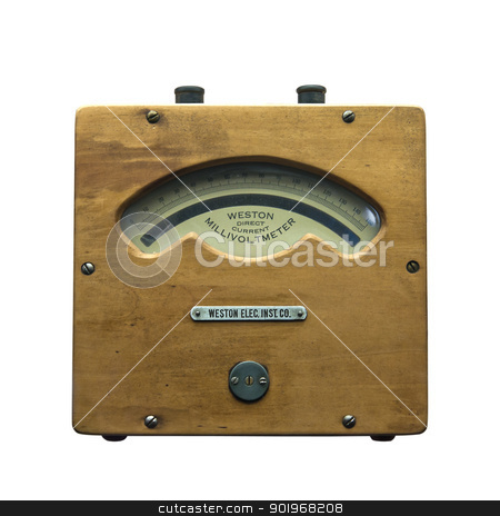 vintage millivoltmeter  stock photo, vintage millivoltmeter for measuring electricity in power stations by paulrommer