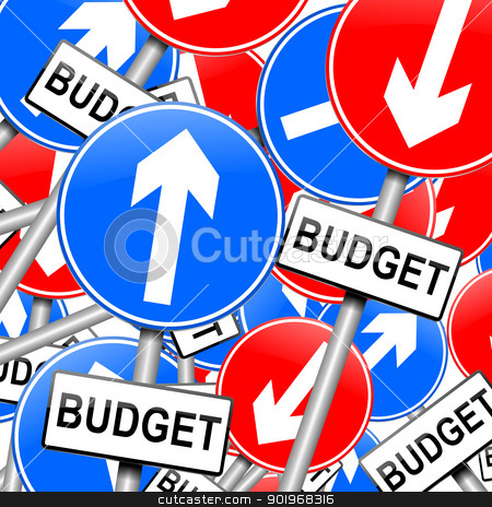 Budget concept. stock photo, Abstract illustration depicting many roadsigns with a budget concept.  by Samantha Craddock