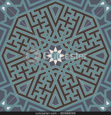 Arabesque seamless pattern stock vector clipart, Arabesque seamless pattern in editable vector file by paulrommer