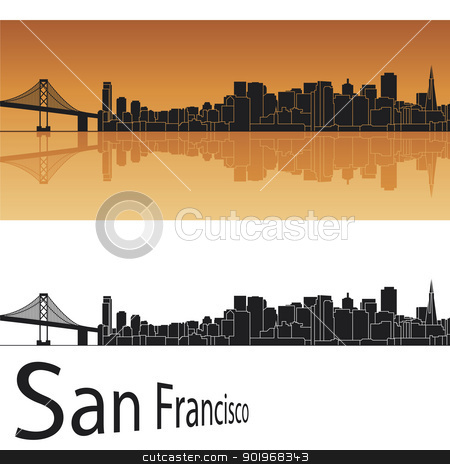 San Francisco skyline in orange background stock vector clipart, San Francisco skyline in orange background in editable vector file by paulrommer