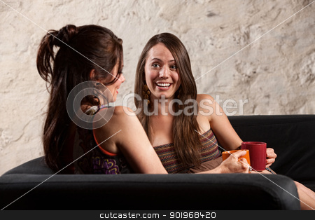 Pretty Women Talking stock photo, Beautiful Caucasian brunette ladies sitting indoors talking by Scott Griessel