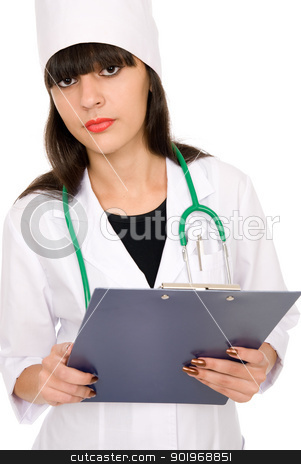 young female doctor portrait stock photo, young female doctor portrait, isolated on white background by Vadim