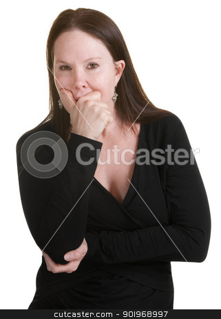 Pensive Woman in Black stock photo, Pensive middle aged woman in black with hand on mouth by Scott Griessel