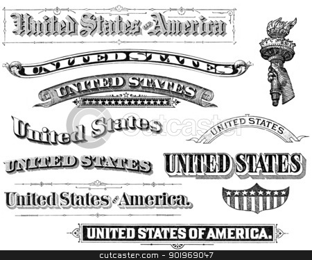 Collection of Vintage United States Elements stock photo, Old, distressed black and white treatments of