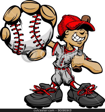 Kid Baseball Player Holding Baseball and Bat stock vector clipart, Baseball Boy Cartoon Player with Bat and Ball Vector Illustration by chromaco
