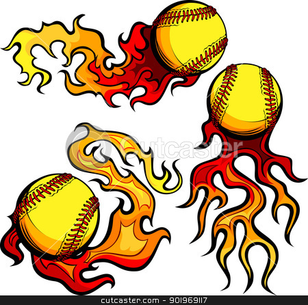 Flaming Softballs with Flames Vector Images stock vector clipart, Flaming Graphic Softball Sport Vector Image with Flames by chromaco