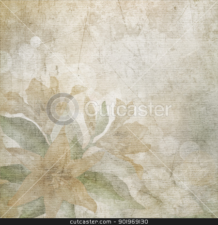 Old scratched paper with flowers background. stock photo, Old scratched paper with flowers background. by Oleksiy Fedorov