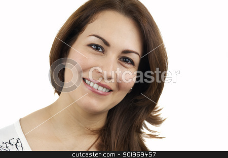 Portrait Of  A Woman stock photo, Woman isolated on white by Matthias Krapp