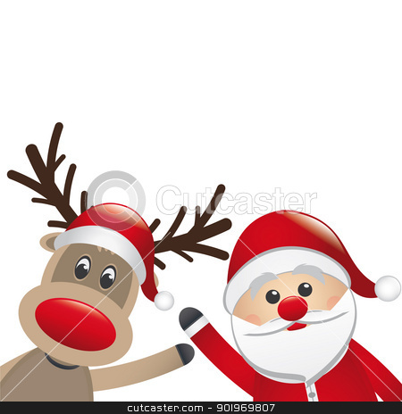 reindeer and santa claus wave stock photo, reindeer and santa claus wave white background by d3images