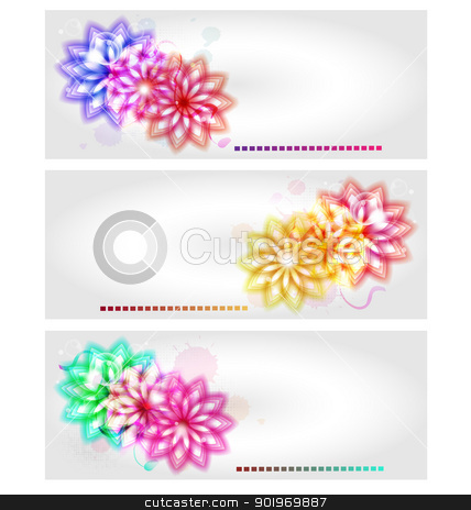 Abstract flower banners  stock vector clipart, A collection of vector abstract flower banners for design needs. by Vladimir Repka