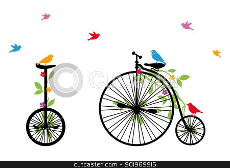 birds on retro bicycle, vector illustration stock vector clipart, birds on vintage bicycle with flowers and leaves, vector illustration by Beata Kraus