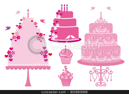 wedding and birthday cakes, vector stock vector clipart, Cakes and cupcakes with hearts, flowers and birds, vector set by Beata Kraus