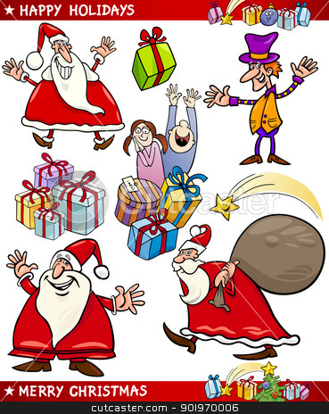 Cartoon Set of Christmas Themes stock vector clipart, Cartoon Illustration of Santa Claus or Papa Noel, Elf, Presents and other Christmas Themes set by Igor Zakowski