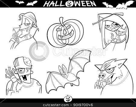 Halloween Cartoon Themes for Coloring stock vector clipart, Cartoon Illustration of Halloween Themes, Vampire, Zombie, Witch, Werewolf, Pumpkin and Bat Funny Set for Coloring Book or Page by Igor Zakowski