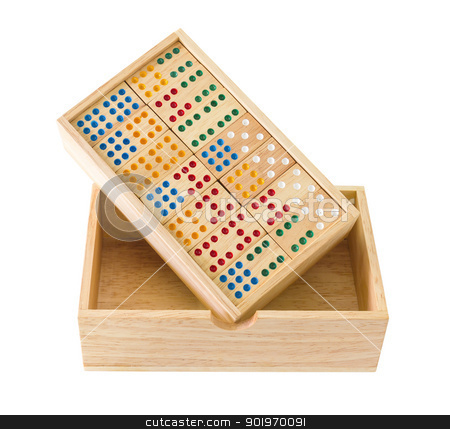 Wooden Domino in box stock photo, Wooden Domino in wooden box  isolated on white with a clipping path by stoonn