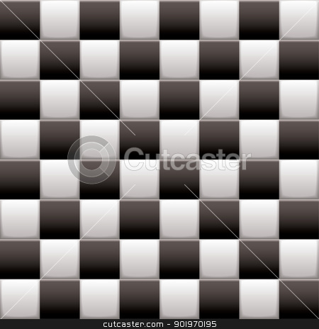 Checkered black n white stock vector clipart, Black and white 3d checkered flag background with seamless tile repeat by Michael Travers