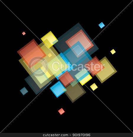 Rainbow abstract square stock vector clipart, Square design presentation background with rainbow elements by Michael Travers