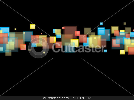 Square rainbow background stock vector clipart, Black background with rainbow band in modern square element by Michael Travers