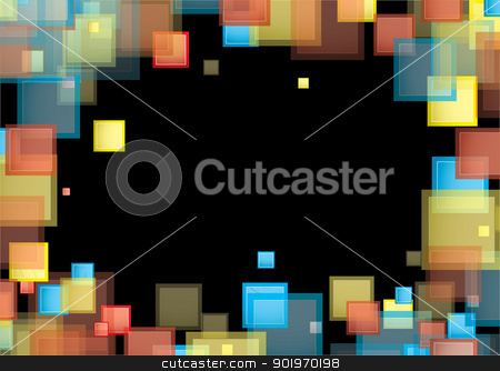 Square rainbow frame stock vector clipart, Black background with rainbow colour frame or border with copyspace by Michael Travers