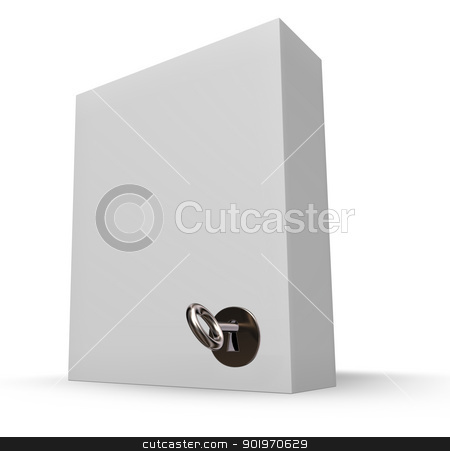 locked box stock photo, white box with lock and key - 3d illustration by J?
