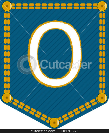 Denim Pocket 0 stock vector clipart, A denim pocket with the number 'zero'. Part of a collection. by Kotto