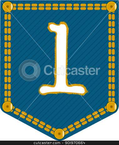 Denim Pocket 1 stock vector clipart, A denim pocket with the number 'one'. Part of a collection. by Kotto