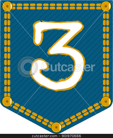 Denim Pocket 3 stock vector clipart, A denim pocket with the number 'three'. Part of a collection. by Kotto