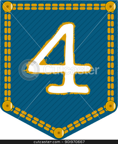 Denim Pocket 4 stock vector clipart, A denim pocket with the number 'four'. Part of a collection. by Kotto