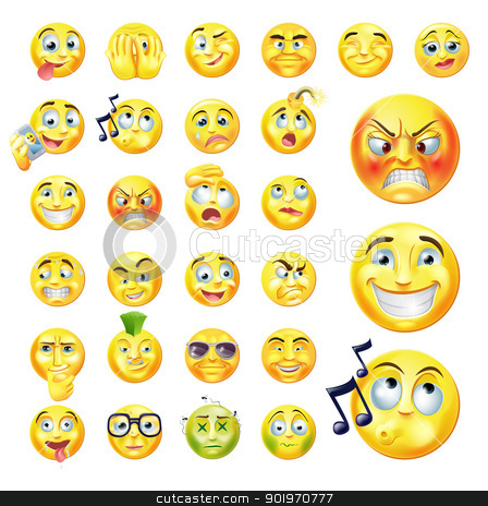 Emoticons stock vector clipart, A set of very original emoticon or emoji icons representing lots of reactions, personalities and emotions by Christos Georghiou